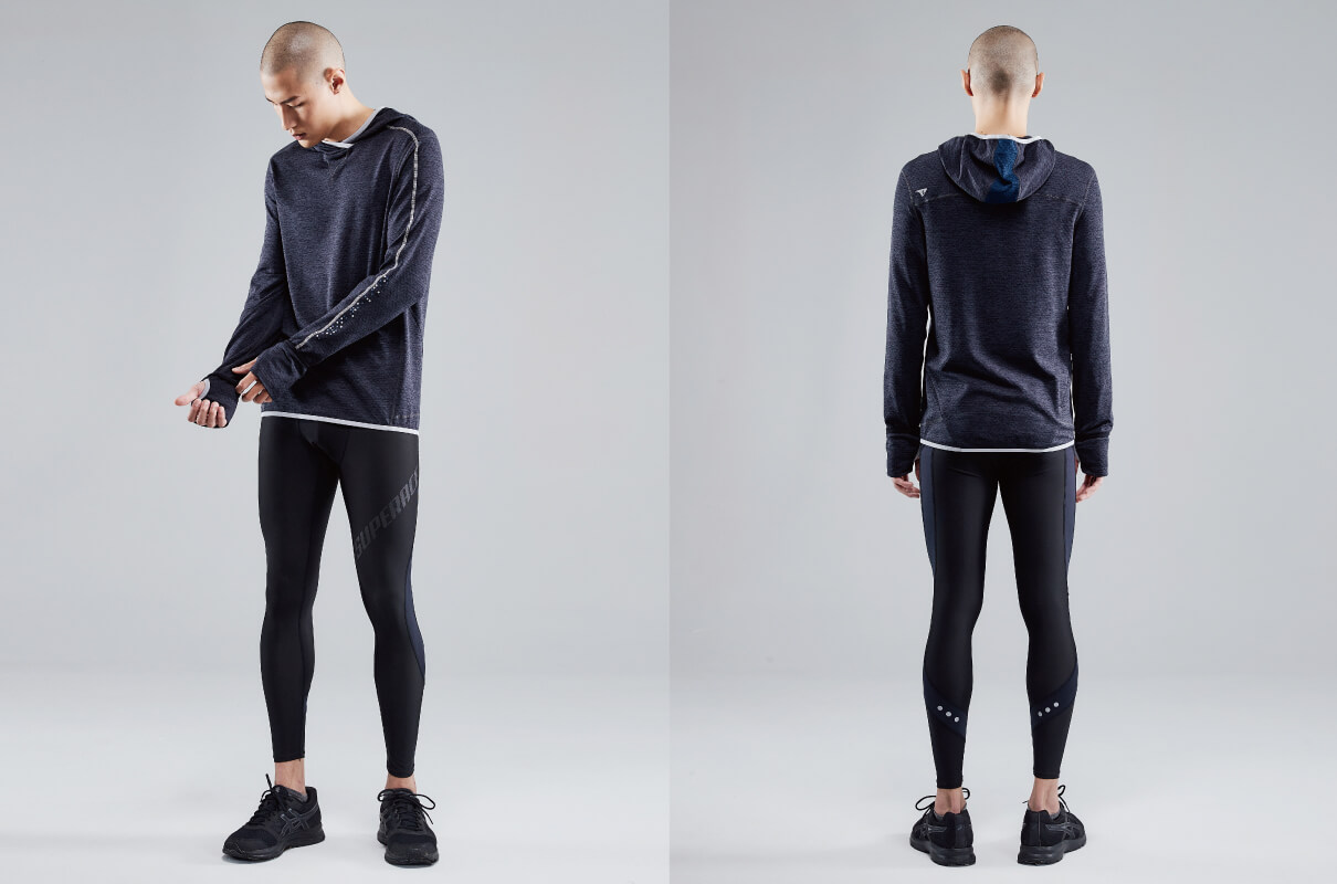 CROSSOVER NECK RUNNING HOODIE MEN